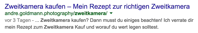 Snippet-Optimierung durch HTML-Title und Meta-Description.