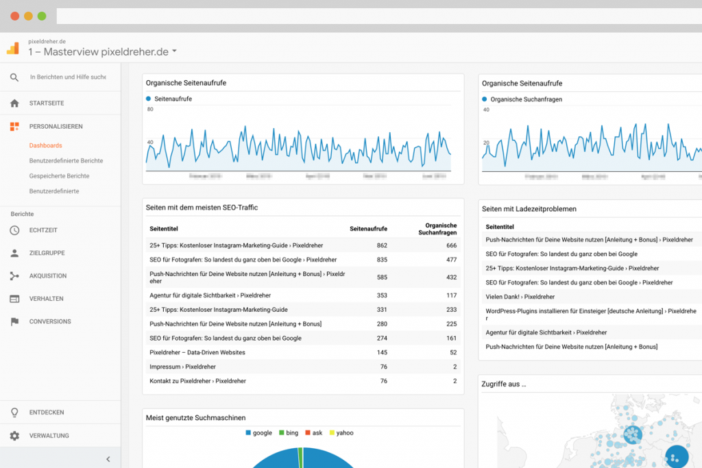 Benutzerdefiniertes SEO-Dashboard in Google Analytics