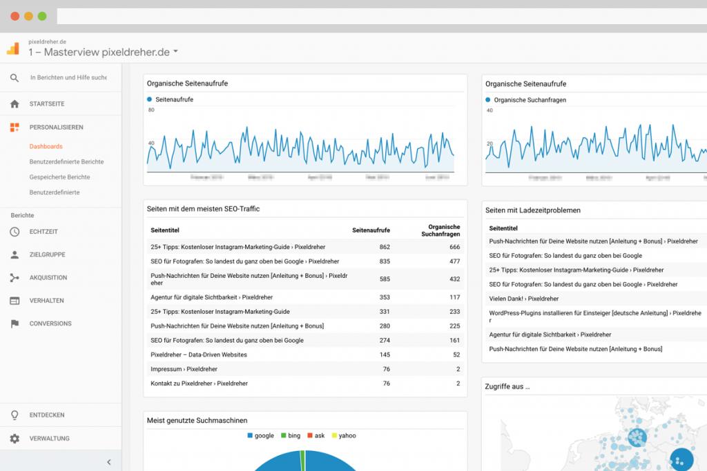 Benutzerdefiniertes SEO-Dashboard in Google Analytics