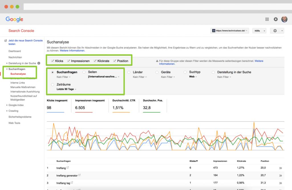 Rankingveränderungen in der Google Search Console ermitteln