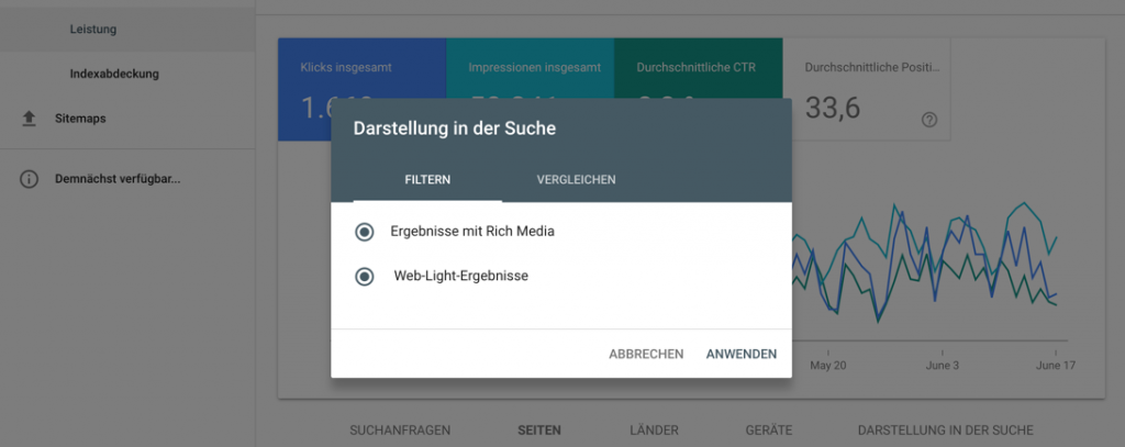 Web-Light-Analysen mit der Google Search Console