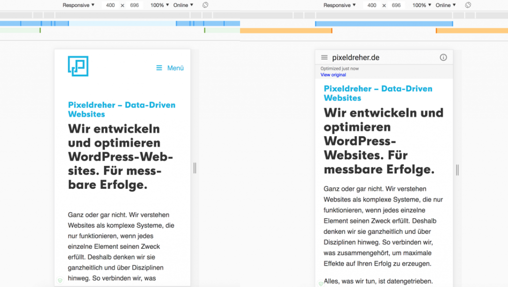 Links die original Webseite. Rechts die Web-Light-Version.
