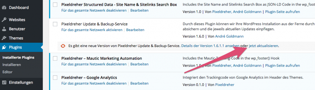 WordPress-Plugins im Backend aktualisieren