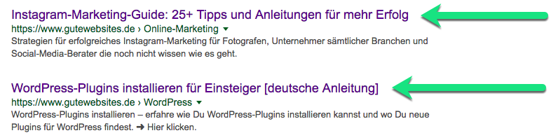 Title-Tag-Optimierung beim Snippet