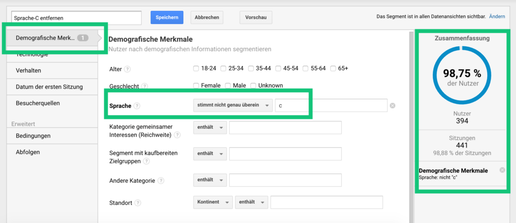 Sprache-C-Segment in Google Analytics