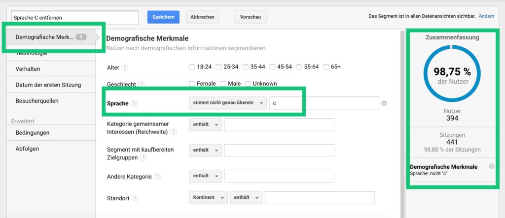 Sprache-C-Segment in Google Analytics